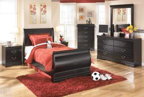 Huey Vineyard Twin Bedroom Set with Sleigh Bed, Dresser, Mirror and Nightstand in Black