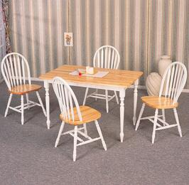 4147SETNW Damen 5 Pcs Dining Set in Natural and White (Table and 4 Chairs)