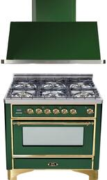 "2-Piece Emerald Green Kitchen Package with UM906DMPVS 36"" Freestanding Dual Fuel Range (Brass Trim, 6 Burners, Timer) and UAM90VS 36"" Wall Mount Range Hood"