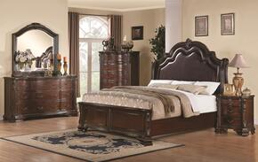 Maddison 202260QDMCN 5 PC Bedroom Set with Queen Size Bed + Dresser + Mirror + Chest +  Nightstand in Cappuccino Finish
