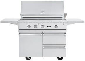 VGBQ54224N Professional 5 Series Outdoor Ultra-Premium Gas Grill with 25,000 BTU Stainless Steel Burners, 15,000 BTU Infrared Rear Burner, Easy Lift Canopy, Smoke Box, and Matching Cart