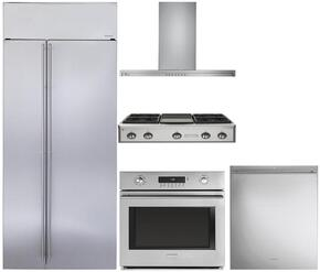 "5-Piece Stainless Steel Kitchen Package with ZISS420NKSS 42"" Side by Side Refrigerator, ZGU364NDPSS 36"" Gas Rangetop, ZV800SJSS 36"" Wall Mount Hood, ZET1SHSS 30"" Single Wall Oven, and ZDT915SSJSS 24"" Fully Integrated Dishwasher"