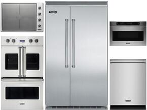 "5-Piece Stainless Steel Kitchen Package with VCSB5483SS 48"" Side by Side Refrigerator, VDOF730SS 30"" Double Wall Oven, VIC5304BST 30"" Induction Cooktop, VMOS201SS 24"" Microwave with 27"" Trim Kit, and VDW302SS 24"" Dishwasher"