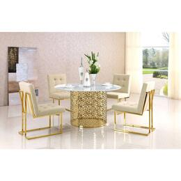 Victoria Collection MER5PCRODH4BEKIT1 5-Piece Dining Room Sets with Round Dining Table, and 4x Beige Dining Chairs in Gold