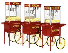 1106110 Theater Pop 6 oz. Popcorn Machine with Side-Hinged Kettle, Built-in Warming Deck, Old Maid Drawer, Stainless Steel Food Zone, Tempered Glass Panels in Red and Popcorn Cart