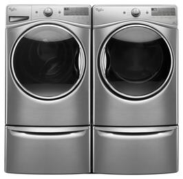 "Diamond Steel Front Load Laundry Pair with WFW92HEFU 27"" Washer, WED92HEFU 27"" Electric Dryer and 2 XHPC155YU Laundry Pedestals"