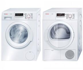 "White Front Load Laundy Pair With WAT28400UC 24"" 300 Series Washer and WTB86200UC 24"" Ascenta Series Electric Dryer"