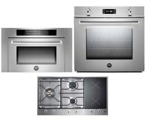 "Professional 3-Piece Stainless Steel Kitchen Package with F30PROXE 30"" Single Electric Wall Oven, PM363I0X 36"" Electric/Gas Cooktop and SO24PROX Built In Microwave"