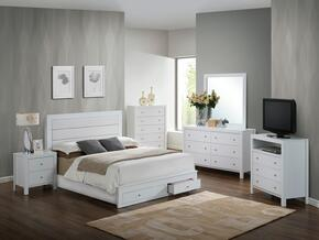 G2400 Collection G2490CQSBSET 6 PC Bedroom Set with Queen Size Storage Bed + Dresser + Mirror + Chest + Nightstand + Media Chest in White Finish