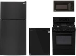 "4-Piece Kitchen Package with LTCS24223B 33"" Top Freezer Refrigerator, LRG3193SB 30"" Freestanding Gas Range, LMV1683SB 30"" Over the Range Microwave, and LDP6797BB 24"" Built In Fully Integrated Dishwasher in Black"
