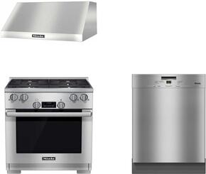 "3-Piece Kitchen Package with HR1124LP 30"" Freestanding Gas Range, G4926SCUCLST 24"" Built In Full Console Dishwasher, and  DAR1220 30"" Wall Mount Ducted Hood in Stainless Steel"