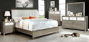 Bryant Collection CM7288SVQBEDSET 5 PC Bedroom Set with Queen Size Platform Bed + Dresser + Mirror + Chest + Nightstand in Silver Finish