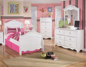 Exquisite Twin Bedroom Set with Sleigh Bed, Dresser, Mirror and Chest in White