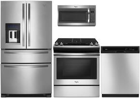 "4-Piece Kitchen Package with WRX735SDBM 36"" French Door Refrigerator, WEG515S0FS 30"" Gas Freestanding Range, WDT720PADM 24"" Built in Dishwasher and WMH32519FS30"" Over The Range Microwave oven in Stainless Steel"
