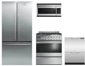 "4-Piece Stainless Steel kitchen Package with RF170ADX4 36"" Counter Depth French Door Refrigerator, OR30SDPWGX1 30"" Dual fuel freestanding Range, CMOH30SS 30"" Microwave Oven and DD24DCHTX9 24"" Full Console Dishwasher"
