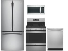"4-Piece Stainless Steel Kitchen Package with GNE25JSKSS 33"" French Door Refrigerator, JGB660SEJSS 30"" Freestanding Gas Range, JVM6175SKSS 30"" Over the Range Microwave Oven, and GDT655SSJSS 24"" Fully Integrated Dishwasher"