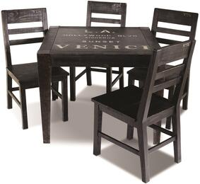 Graphic Collection HH-8725-038-5PC 5 Piece Dining Table Set with Square Table + 4 Side Chairs