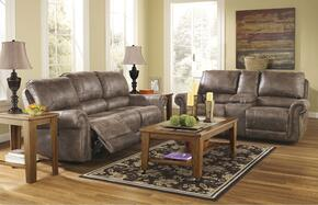 Oberson 74100NSL 2-Piece Living Room Set with Reclining Sofa and Double Reclining Loveseat in Gun Smoke Color