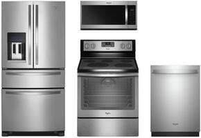 "4-Piece Stainless Steel Kitchen Package with WRX735SDBM 36"" French Door Refrigerator, WFG540H0ES 30"" Freestanding Gas Range, WMH32519HZ 30"" Over the Range Microwave, and WDT750SAHZ 24"" Fully Integrated Dishwasher"