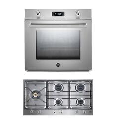 "Professional 2-Piece Stainless Steel Kitchen Package with F30PROXE 30"" Single Electric Wall Oven and PM365S0X 36"" Gas Cooktop"