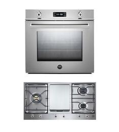 "Professional 2-Piece Stainless Steel Kitchen Package with F30PROXE 30"" Single Electric Wall Oven and PM3630GX 36"" Gas Cooktop"