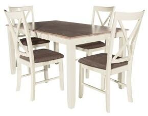 "Jane Collection 15D8153 30"" 5pc Dining Set with One Rectangular Table and Four Chairs in White Finish"
