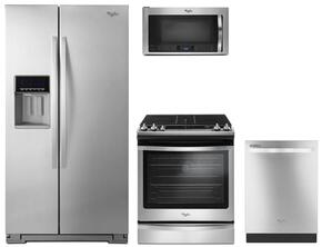 "4-Piece Kitchen Package with WRS571CIDM 36"" Side by Side Refrigerator, WEG745H0FS 30"" Gas Slide-In Range, WDT720PADM 24"" Built in Dishwasher and WMH76719CS 30"" Microwave oven in Stainless Steel"