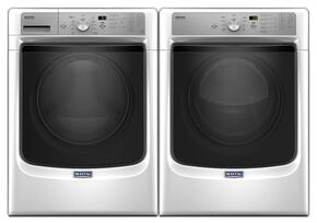 "White Front Load Laundry Pair with MHW5500FW 27"" Washer and MED5500FW 27"" Electric Dryer"