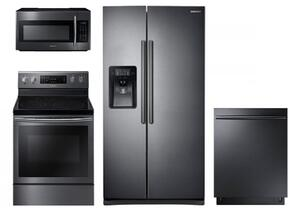 "4 Piece Kitchen Package With NE59J7630SG 30"" Electric Range, ME18H704SFG Over the Range Microwave Oven, RS25J500DSG 36"" Side By Side Refrigerator and DW80K7050UG 24"" Built In Dishwasher In Black Stainless Steel"
