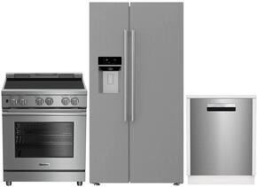 "3-Piece Kitchen Package with BSBS2230SS 36"" Side by Side Refrigerator, BIRP34450SS 30""Slide In Electric Range, and a free DW25502SS 24"" Built In Full Console Dishwasher in Stainless Steel"
