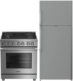 "2 Piece Kitchen Package With BDFP34550SS 30"" Slide-in Gas Range and BRFT1522SS 28"" Top Freezer Refrigerator In Stainless Steel"