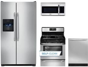 """4-Piece Kitchen Package with FFSS2614QS 36"""" Side by Side Refrigerator, FFGF3053LS 30"""" Gas Freestanding Range, FGMV175QF 30"""" Over The Range Microwave oven and FGID2466QF 24"""" Built in Dishwasher in Stainless Steel"""