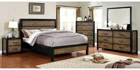 Hamberg Collection CM7693QBDMCN 5-Piece Bedroom Set with Queen Bed, Dresser, Mirror, Chest and Nightstand in Black and Oak Finish