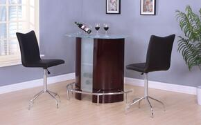 Vindex 71295T2C 3 PC Bar Table Set with Bar Table + 2 Swivel Chairs in Wine and Chrome Finish