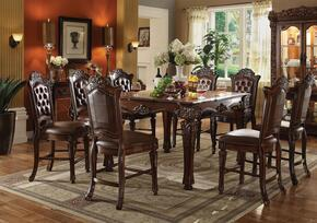 Vendome 62025T8C 9 PC Bar Table Set with Counter Height Table + 8 Chairs in Cherry Finish