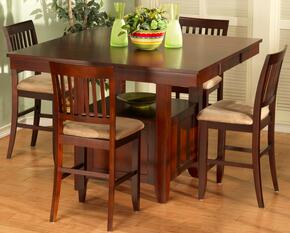 040705CC Brendan 5 Piece Dining Room Set with One Counter Table Top and Four Chairs, in Bordeaux