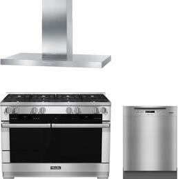 "3-Piece Stainless Steel Kitchen Package with HR1954DF 48"" Freestanding Dual Fuel Range, DA424V6 48"" Wall Mount Canopy Range Hood, and G6105UCLST 24"" Full Console Dishwasher"