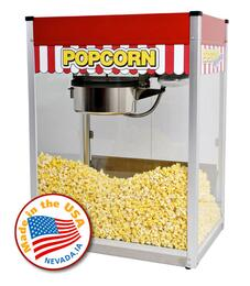 "1116810KIT2 16-Oz. 27"" Classic Pop Popcorn Machine with Stainless Steel Foodzone, Tempered Glass Panels and Classic Pop Cart for Storage"
