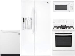 "4-Piece Kitchen Package with LSXS26326W 36"" Side by Side Refrigerator , LRE3193SW 30"" Freestanding Gas Range, LMV1831SW 30"" Over the Range Microwave, and LDT5665WW 24"" Built In Fully Integrated Dishwasher in White"
