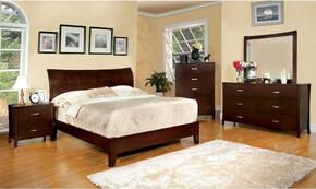 Midland Collection CM7600QBDMCN 5-Piece Bedroom Set with Queen Bed, Dresser, Mirror, Chest, and Nightstand in Brown Cherry Finish