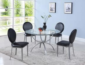 Francis Collection FRANCIS-5PC 5 PC Dining Room Set with Dining Table + 4 Side Chairs in Silver Finish