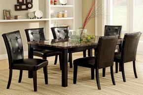 Boulder I Collection CM3870T6SC 7-Piece Dining Room Set with Rectangular Table and 6 Side Chairs in Black Finish