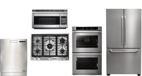 """Dacor 5 Piece Stainless Steel Kitchen Package With RNTT365GBNG 36"""" Gas Cooktop, DYO130S 30"""" Electric Wall Oven, DYF30BFTSL Bottom Freezer Refrigerator, DHW361 36"""" wall Mount Hood and RDW24S 24"""" built In Dishwasher"""