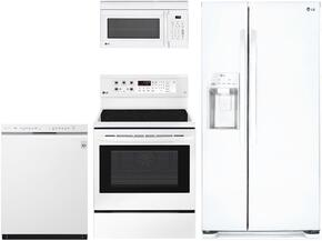 "4-Piece Kitchen Package with LSXS22423W 33"" Side by Side Refrigerator, LRE3193SW 30"" Freestanding Electric Range, LMC1375SW 22"" Countertop Microwave, and LDS5540WW 24"" Built In Semi-Integrated Dishwasher in White"