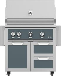 "36"" Freestanding Natural Gas Grill with GCR36DG Tower Grill Cart with Double Drawer and Door Combo, in Pacific Fog Dark Gray"