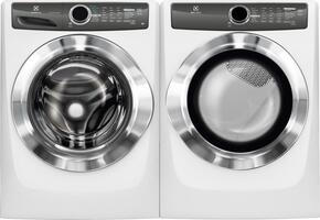 "White Front Load Laundry Pair with EFLS517SIW 27"" Washer and EFME517SIW 27"" Electric Dryer"