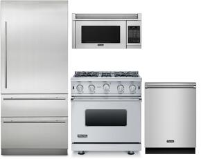 "4-Piece Stainless Steel Kitchen Package with VCRB5303LSS 36"" All Refrigerator, VGCC5304BSSLP 36"" Gas Range, VMOR205SS 24"" Over the Range Microwave, and FDW302WS 24"" Fully Integrated Dishwasher"