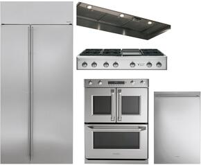 "5-Piece Stainless Steel Kitchen Package with ZISS480NKSS 36"" Side by Side Refrigerator, ZGU486NDPSS 48"" Gas Cooktop, ZVC48LSS 48"" Hood Insert, ZET2FLSS 30"" Double Wall Oven, and ZDT915SSJSS 24"" Fully Integrated Dishwasher"