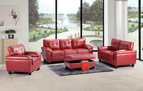 G909ASET 4 PC Living Room Set with Sofa + Loveseat + Armchair + Ottoman in Red Color