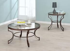 "Fairhaven Collection 704457 23"" Round End Table and Coffee Table Bronze Frame and Glass Top"